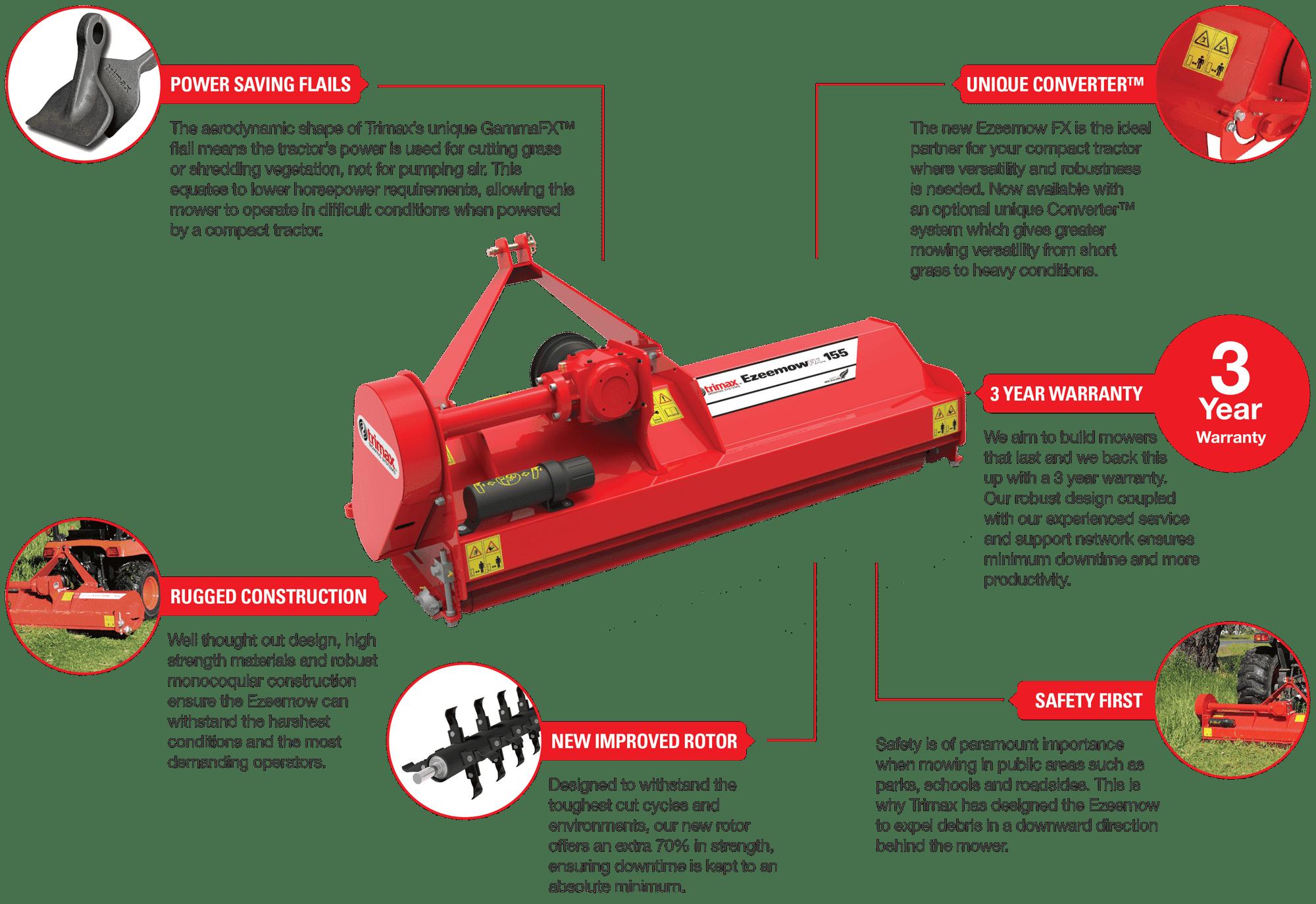 Trimax Ezeemow Mower Features