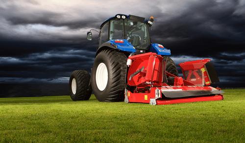 Lawn mower with dark skies